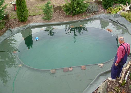 Schwimm und gartenteiche teichbau mit folie und gfk for Pool mit teichfolie