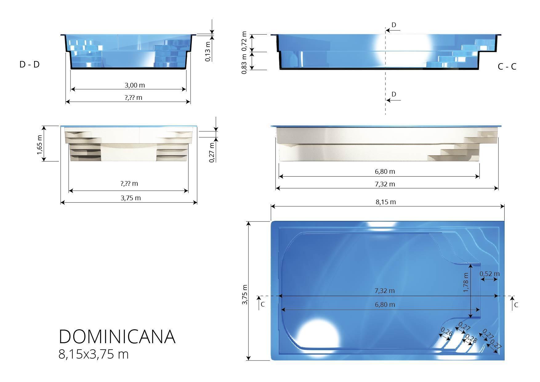 Gfk Schwimmbecken 8,00x3,20x1,50 Swimming Pool Zubehör Einbaubecken Komplettset